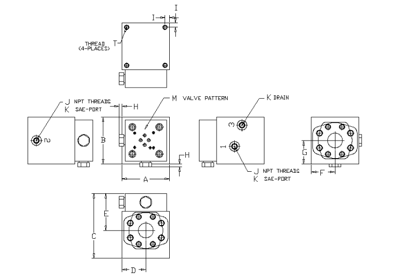 90 degree - bi directional valve - 6000 PSI - general layout