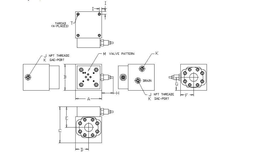 90 degree - High Flow Load Relief Valve - 6000 PSI - general layout