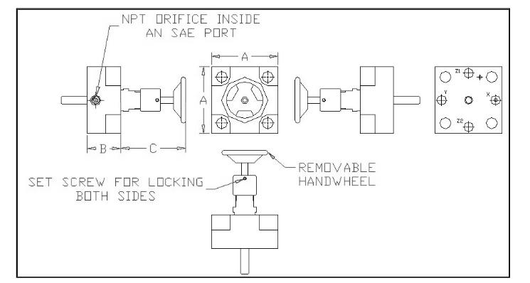 DIN 24342 - flow control - 16mm to 80mm - 5000 PSI - general layout 1